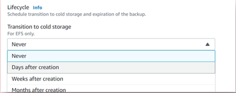 AWS Backup - transition to cold storage (for Amazon EFS) - ZS Associates