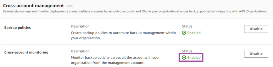 Enable the Backup policies and Cross-account monitoring features in the AWS Backup settings