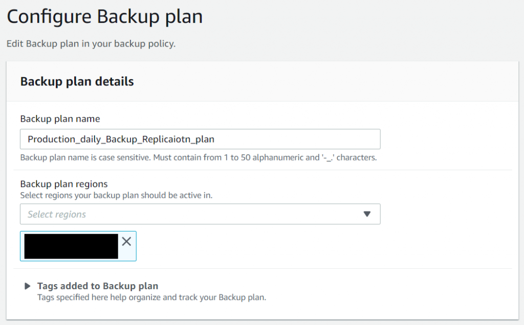 ZS Associates - The Backup plan details consist of the backup plan name and the Region to deploy the backups.