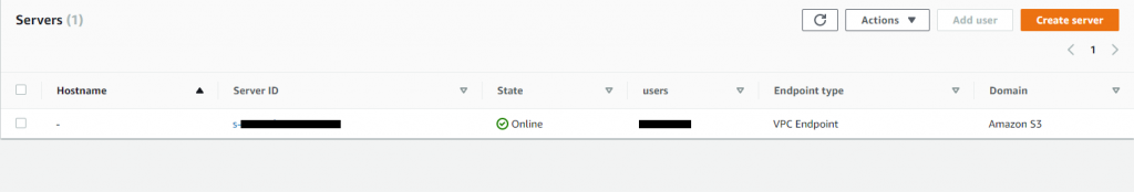 AWS Transfer Family, you can identify servers with the VPC_ENDPOINT endpoint type in the list of servers