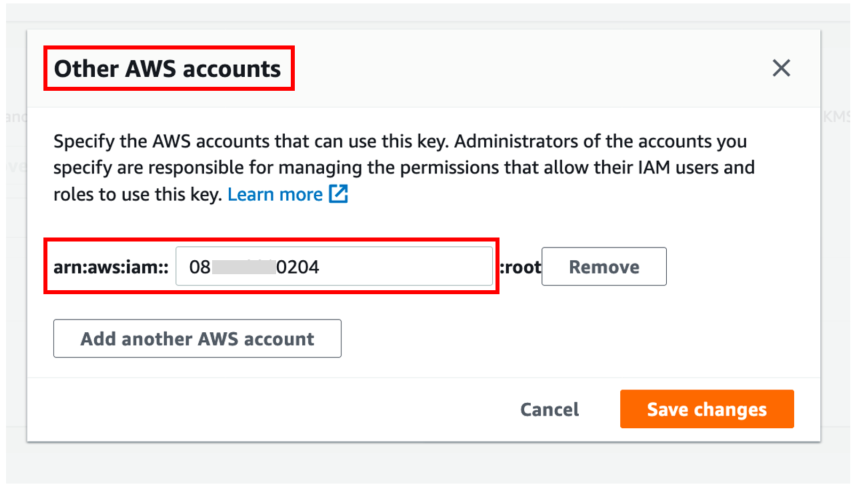 AWS accounts subsection, click Add other AWS accounts, and type the target account ID