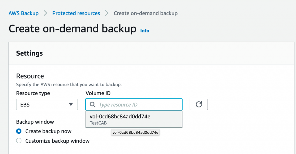 Create on-demand backup - CRAB w encrypted resources and AWS Backup