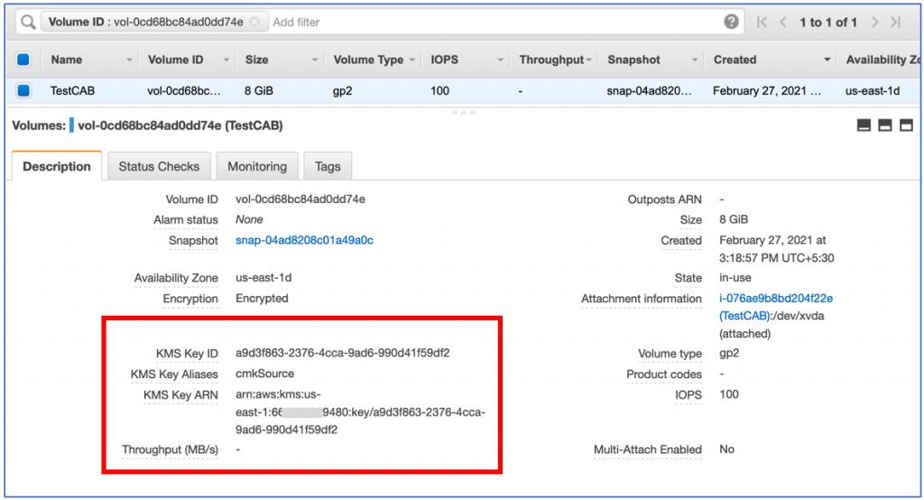 EBS volume encrypted with CMK 'cmksource' (1)