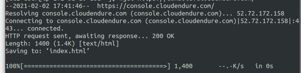 Testing the first requirement, HTTPS connectivity to the CloudEndure console - this is a successful response.
