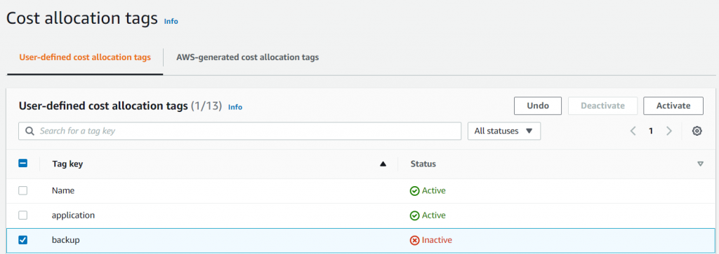 Activate cost allocation tags in the AWS Billing and Cost Management dashboard (1)