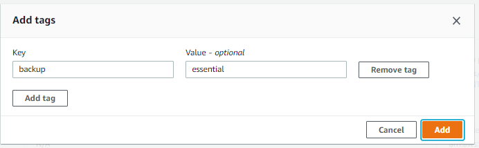 Add the specific tags that you want to add. In this example, I continue with 'backup - essential'