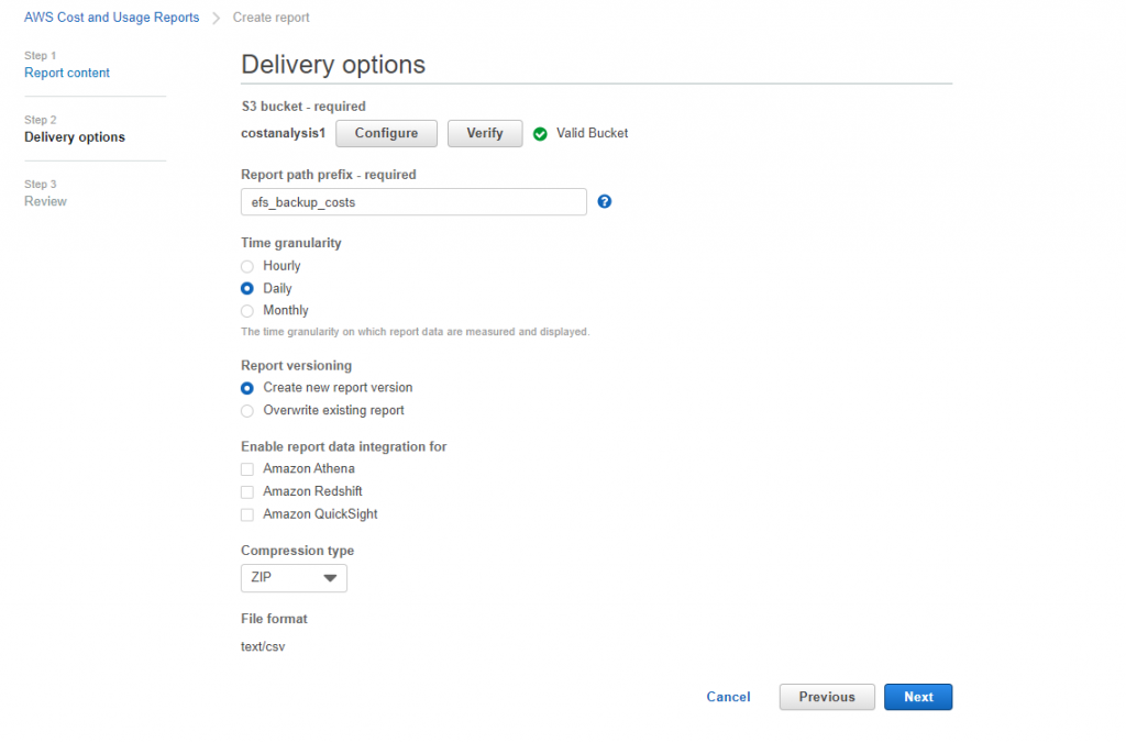 You can create a recurring report that AWS CUR delivers daily to your Amazon S3 bucket (delivery options) (2)