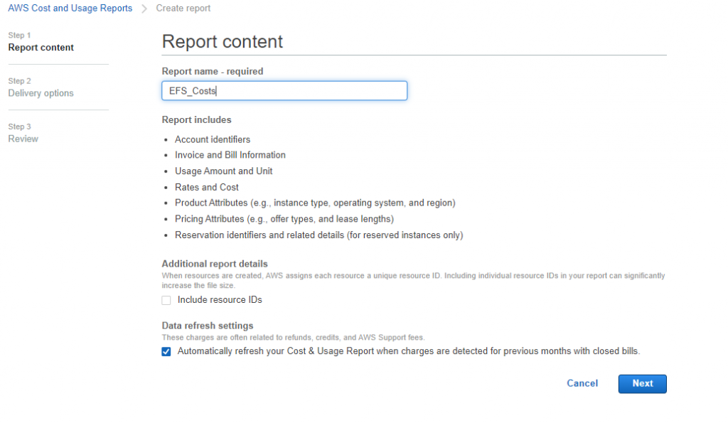 You can create a recurring report that AWS CUR delivers daily to your Amazon S3 bucket (report content) (1)