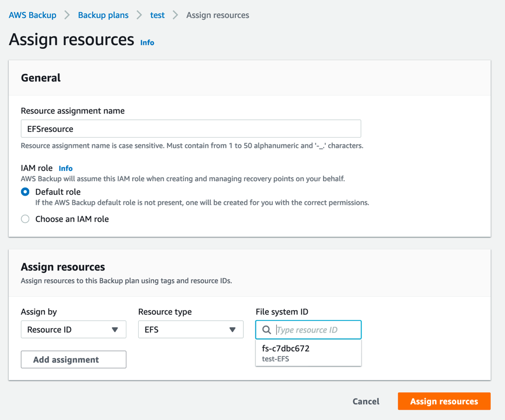 Assign resources in your backup plan - Automating backups and optimizing backup costs for Amazon EFS using AWS Backup