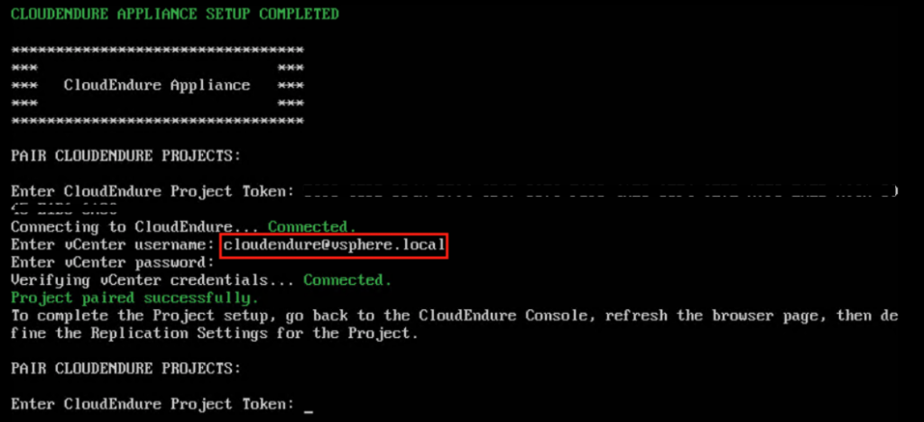 CloudEndure Appliance Setup Completed