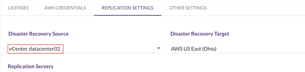 On the Replication Settings screen, you should be able to see your data center as the Disaster Recovery Source
