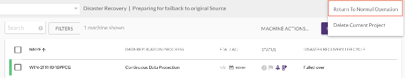 Once the original source VM has been launched, switch back to normal DR replication