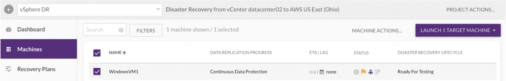 After successfully installing the agent, see replication happening in the AWS staging area based on the specified Replication Settings (1)