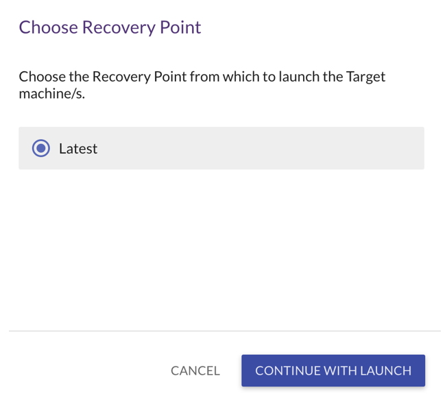 Launch the target machine in recovery mode and choose the appropriate recovery point (1)