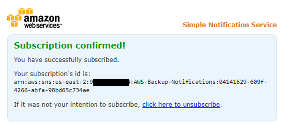 After you select the Confirm subscription link on the AWS Notifications email, you are taken to a webpage confirming the subscription