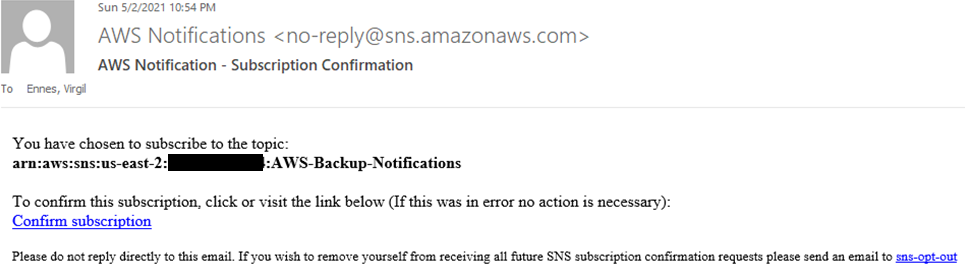 """An email from """"AWS Notifications"""" requesting subscription confirmation."""
