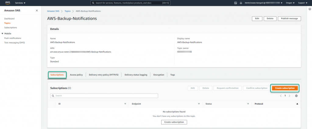 Create Amazon SNS subscriptions - Select the Subscriptions tab in the topic details window. Next, select Create subscription