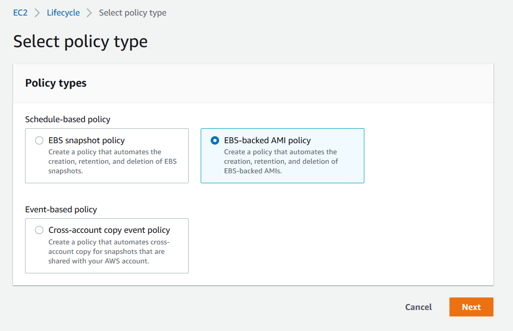 Creating Amazon EBS-backed AMI policy for Amazon EC2 instances