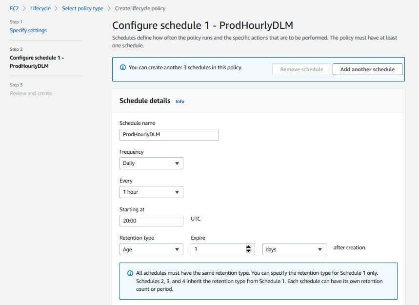 Creating an Amazon EBS snapshot policy - Step 2 - Configure schedule 1 ProdHourlyDLM