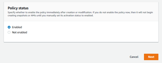 Set the Policy status to Enabled. The initial snapshot creation is initiated within an hour from the schedule you defined.