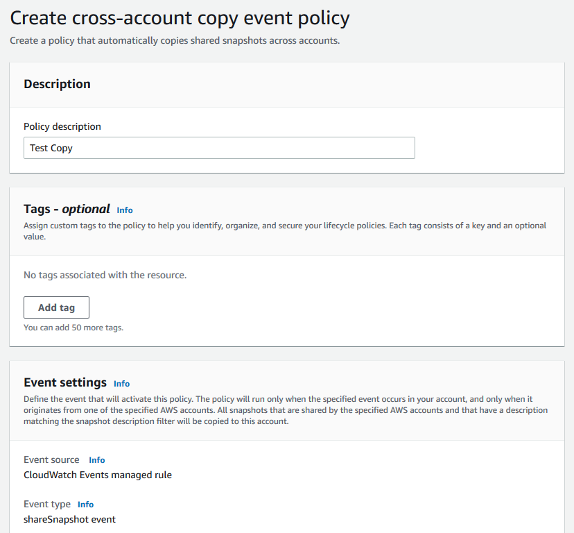 Enter a brief Description of the policy (cross-account copy event policy)(1)