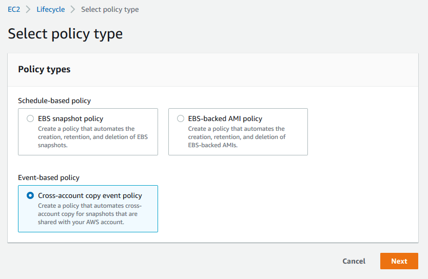 Select Cross-account copy event policy and click on Next (1)