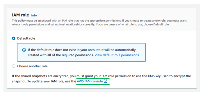 Select the IAM role you would like to perform the copy action.