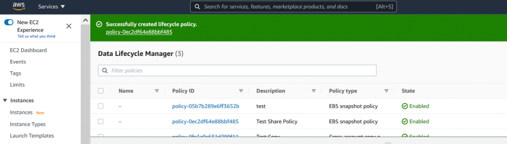You should now see a Success message with a policy-id confirming that your policy was successfully created (1)