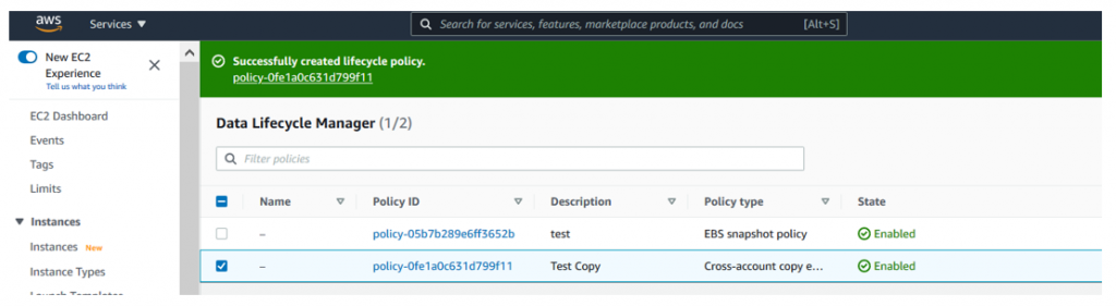 You should now see a message with a policy-id confirming that your policy was successfully created (1)