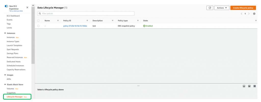 Choose Data Lifecycle Manager located in the left side panel under Elastic Block Store, followed by Create Lifecycle Policy. (1)