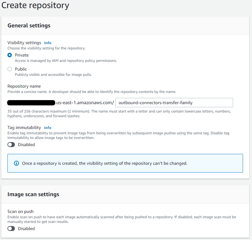 Create a private repository and give your repository a name.