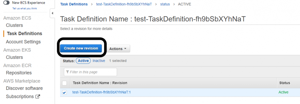 Select Create new revision when you have selected the task definition name