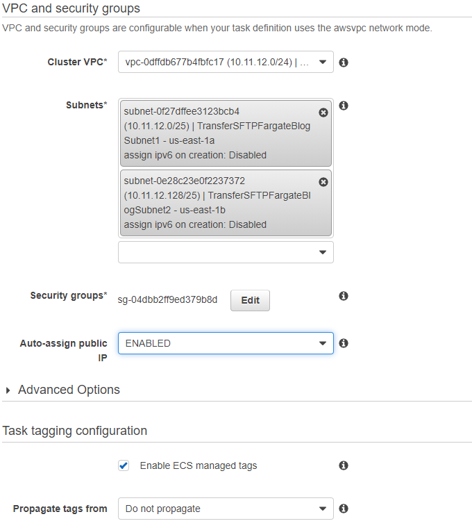 Select the Cluster VPC, Subnets, and Security groups created by CloudFormation, and Enabled for Auto-assign public IP