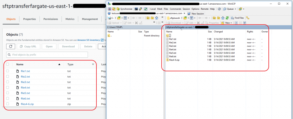 View files in the S3 bucket with the SFTP protocol and WinSCP client for side by side comparison