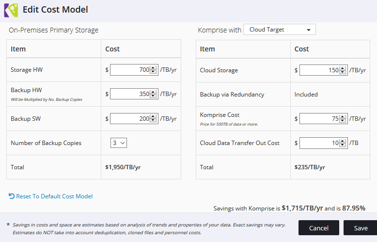 You can customize the analysis to ensure accurate cost savings estimates by browsing to All Actions, Edit Cost Model when viewing your plan