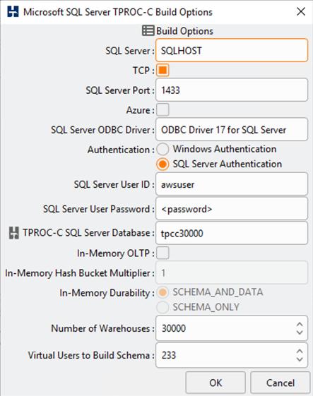 To generate Microsoft SQL Server OLTP test data, we use HammerDB Release 4.1 for Windows 64-bit Installer.