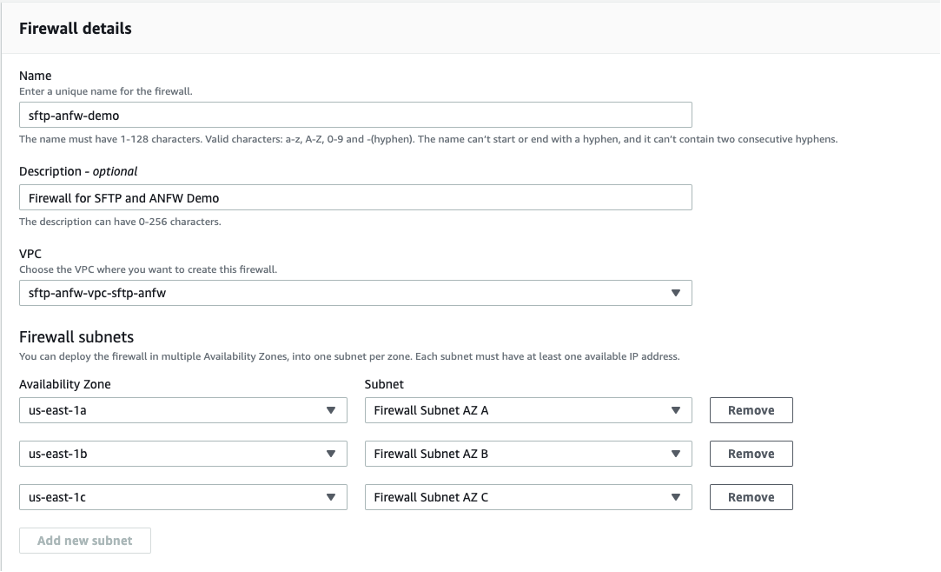 Figure 2- AWS Network Firewall Configuration - Details and Subnet Configurations