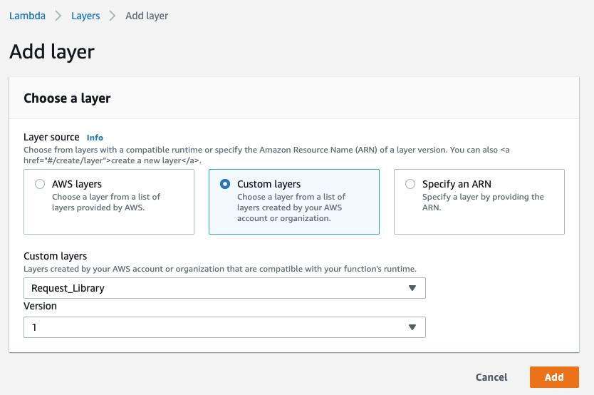 Add the AWS Lambda Layer to AWS Lambda function