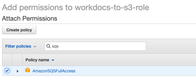 Add the additional policy 'AmazonSQSFullAccess' to the same role.