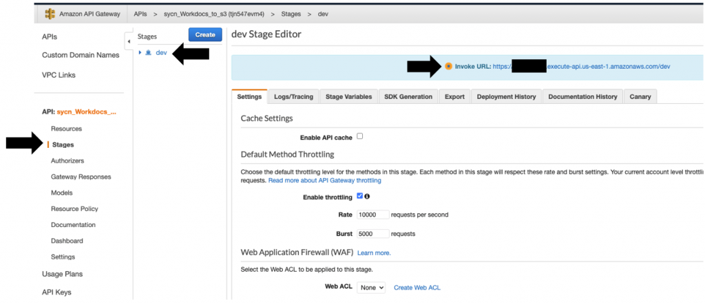 Also, capture the API endpoint URL from the Stages tab