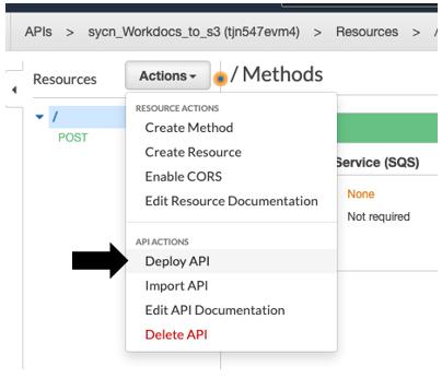 Choose Deploy API under API ACTIONS