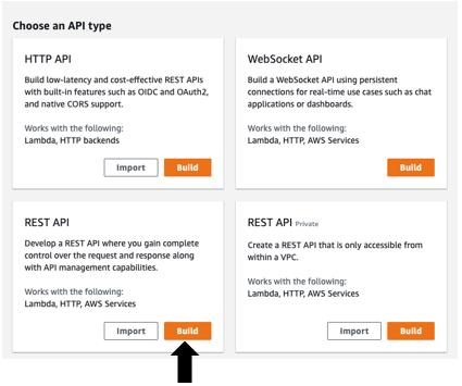 Create an API Gateway with Rest API as the API type.