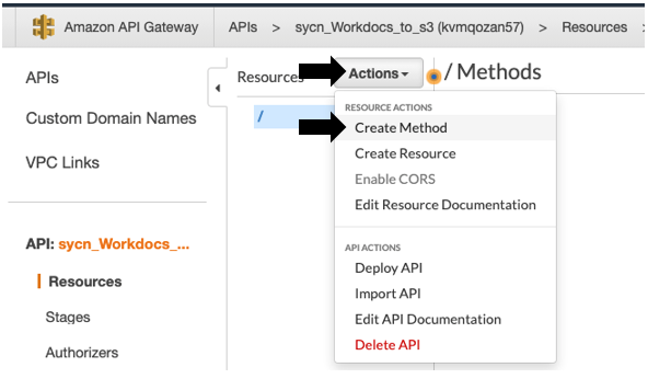Once the API is created, add Create Method.