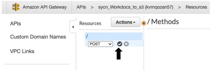 Once you select the POST method, select the checkmark icon