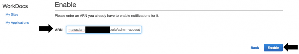 Provide the ARN and select Enable.