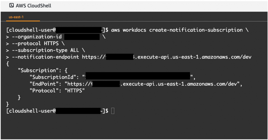 Run the following command to subscribe to the Amazon WorkDocs notification