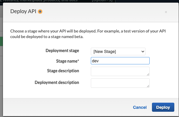Under the Deploy API prompt, fill in the details and then Deploy.