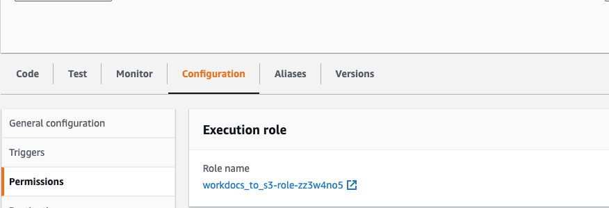 Update the AWS Lambda function's 'workdocs-to-s3' IAM execution role