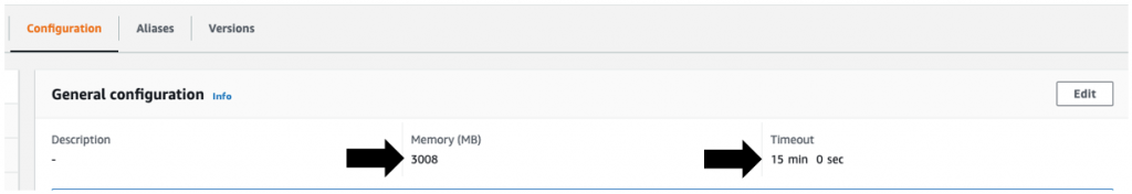 """Update the AWS Lambda function """"workdocs-to-s3"""" Timeout and Memory (MB) settings"""