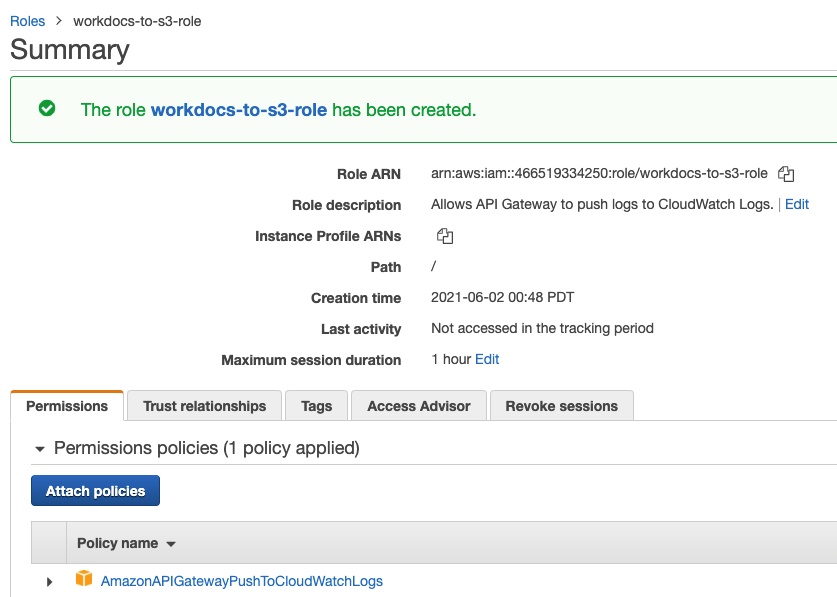 Use the default policy when creating an IAM role to integrate Amazon SQS with Amazon API Gateway